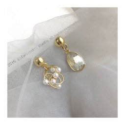 A-TT-265 Elegant Grey Crystal With Pearls Uneven Trendy Earstuds