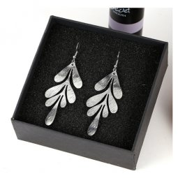 A-LG-ER0622silver Korean Style Sliver Leaf Hook Earrings