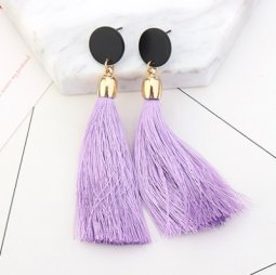 P126910 Purple Round Bead Tassel Korean Inspired Earstuds