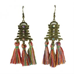 A-HH-HQET-004colorful Colorful Mix Tassel Bell with Diamond Hook