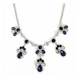 A-CJ-9243 Sapphire Blue Gem Bead Crystal Elegance Necklace