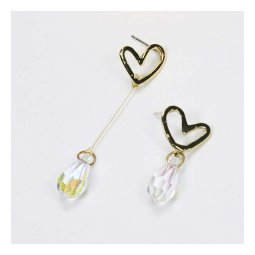 A-QK-0245heart Gold Heart Unmatched Crystal Drops Korean Earring