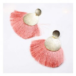 A-FX-E6048sal Salmon Colored Tassel Textured Gold Circle Plate