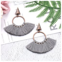 A-HH-HQEF1218grey Vintage Grey Tassel Earstuds Hot Selling