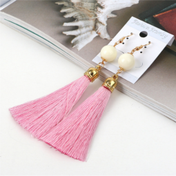 A-QM-235PINKW Pink Tassel White Bead Hook Earrings Wholesale