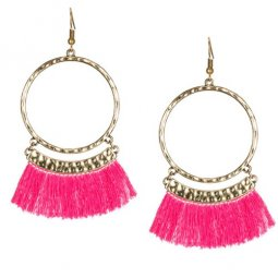 A-KJ-E020336p Pink Gold Round Ring Elegant Tassel Hook Earrings