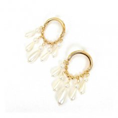 A-SD-XL0146 Semi Circle Gold Arc Modern Elegant Pearl Teardrop E