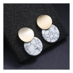 A-JT-95WHITE White Marble With Golden Coin Korean Earstuds