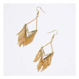 A-UN-001gold Gold Mini Chains Dangling Triangle Geo Crystal Earr