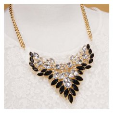 A-OSD-20141129 White Black Crystal Beads Wings Inspired Necklace