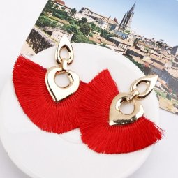 A-SD-XL0324red Red Huge Tassels Vogue Ovals Gold Earstuds