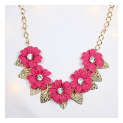 A-FF-fl87 Magenta Spring Flowers Statement Necklace Gold Leaves