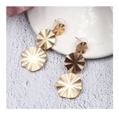 A-HH- HQEF1162(gold) Gold Triple Circle Wavy Plates Earrings