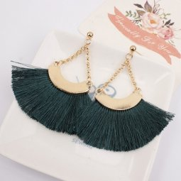 A-SD-XL0464green Tangling Dark Green Tassel Earstuds Wholesale