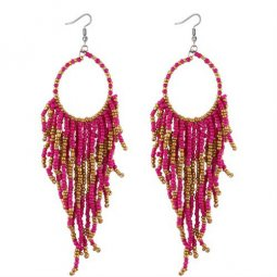 P132238 Pink Gold Tangling Beads Loop Hook Earrings Shop