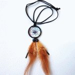 B-DC-black Black dream catcher feather long necklace malaysia