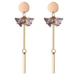 P132226 Clear Grey Crystal Flower With Golden Tangling Earstuds