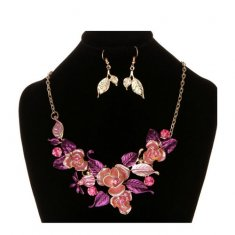 A-MD-X0006 Dusty Pink Rose & Magenta Leaves Statement Necklace