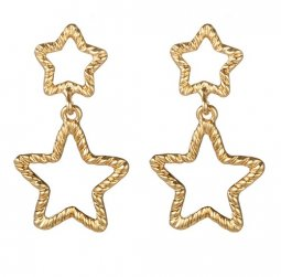 A-YG-sku5022 Double Stars Gold Stylish Korean Style Earstuds