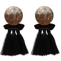 A-SD-EH525black Black Round Gold Charm Black Tassel Earstuds