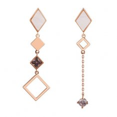 A-TT-F95 Diamond Shape With Pink & Purple Crystal Trendy Earstud
