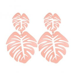 A-JW-11299 Simple Pink Summer Leaves Trendy Fashion Earstuds