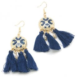 P128798 Navy Blue Elegant Clover Gold Tassel Hook Earrings