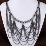 C11050897 Black dangling chain elegant short necklace malaysia