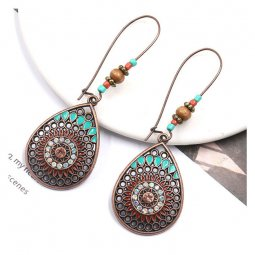 A-HH-HQEF1575 Ethnic Teardrop Shape Blue Beads Copper Earrings