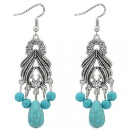 P122820 Turquoise bead bohemian antique silver hook earrings
