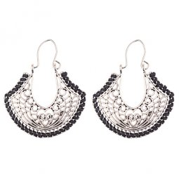 A-DW-HXE043black Vintage Silver Love Black Hook Earrings