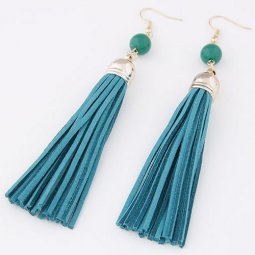 C0150712102 Green Cloth Dangling Bohemian Hook Earrings