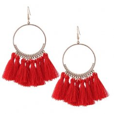 C110102307 Red Tassel Round Ring Bohemian Hook Earrings Malaysia