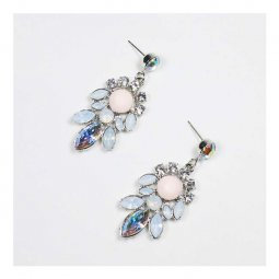 A-MY-KE004 Pastel Pink Crystal Studded Korean Elegant Earrings