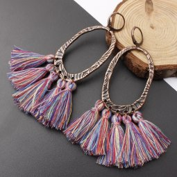 A-SD-XL0205colour1 Colourful Tassel Oval Vintage Huggy Earrings