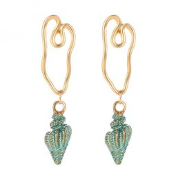 A-JW-9948 Green Shells Summer Feels Golden Line Trendy Earstuds