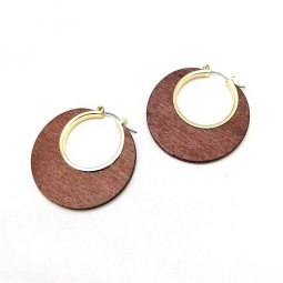 A-LG-ER1082-1 Dark Woonden Classic Circle Earstuds Earrings