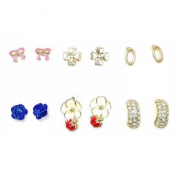 B-MLSF-A6010- Pink Ribbon Blue Rose Flower Diamond CloveEarstuds