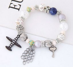 C101127272 Dreamy Bead Airplane Charm Silver Adjustable Bracelet