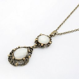 C10100901 White Bead Vintage Long Necklace Malaysia Shop