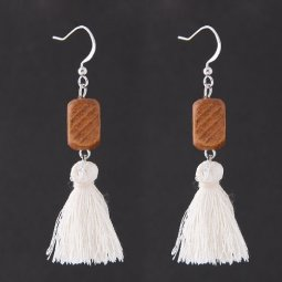 C11043185 White Tassel Wooden Rectangle Silver Hook Earrings