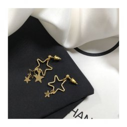 A-TT-562STAR Uneven Golden Dangling Stars Korean Earstuds