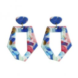 A-FX-BLUE Blue Marble Bali Style Trendy Fashion Earstuds