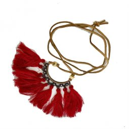 A-HH-HQEF3 Red Tassel Half Floral Pattern Long Necklace Shop