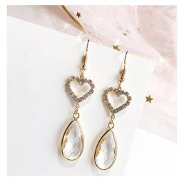 A-LG-ER0529 Clear Tangling Crystals Love Shapes Hook Earring