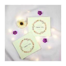 A-LH-THANKU Thank You Wording Cute Flower Wreath Gift Cards