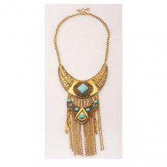 A-H2-100X311-1 Vintage Long Statement Necklace Feather Blue Bead