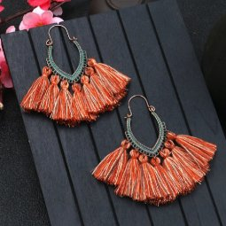 A-HH-HQEF1068brown Brown Mix Tassels Oval Curve Hook Earrings
