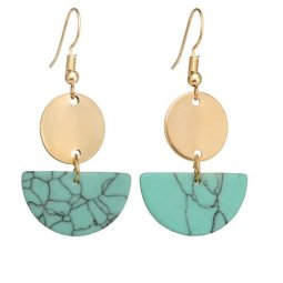 A-yG-SKU5807TUR Turquoise Marble Semicircle Gold Hook Earrings
