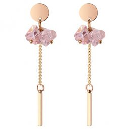 P132225 Pink Crystal Flower With Golden Tangling Earstuds